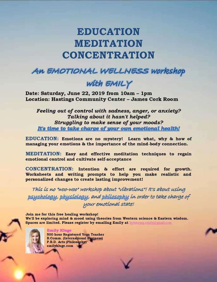 NEW Emotional Wellness Workshop – Vancouver, BC, Canada | Emily's